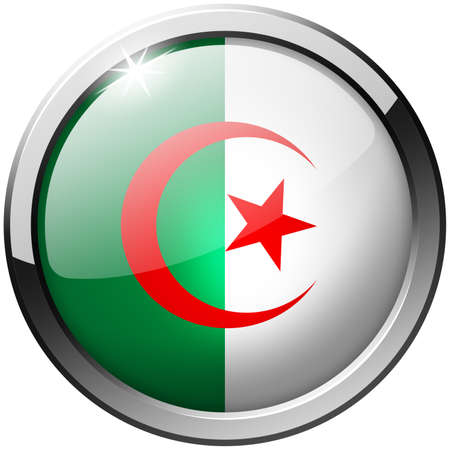 Algeria Round Metal Glass Button photo