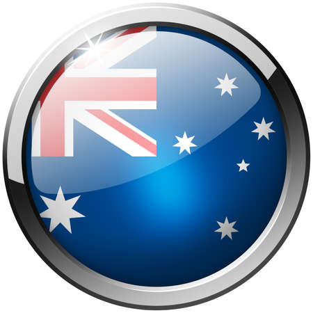 Australia Round Metal Glass Button photo