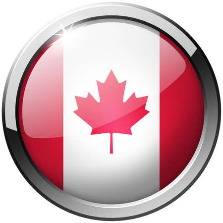 Canada Round Metal Glass Button photo