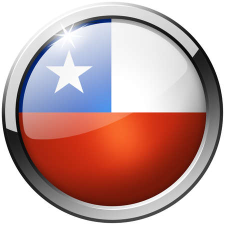 Chile Round Metal Glass Button photo