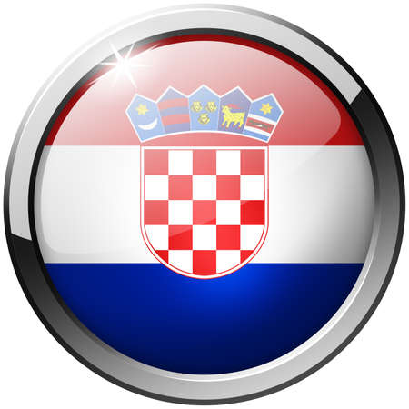 Croatia Round Metal Glass Button photo