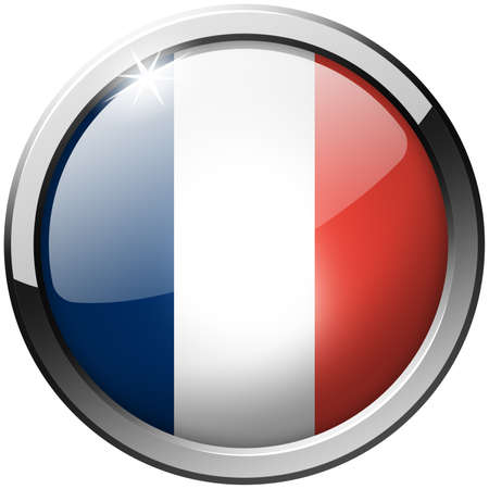 France Round Metal Glass Button photo