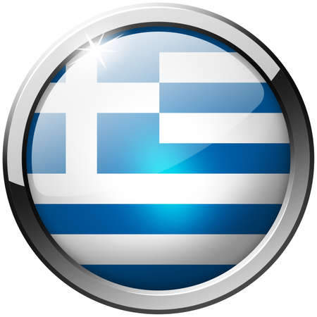 Greece Round Metal Glass Button photo