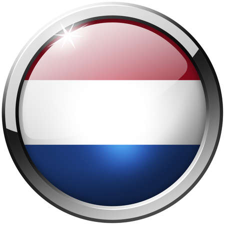 Netherlands Round Metal Glass Button photo