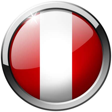 Peru Round Metal Glass Button photo