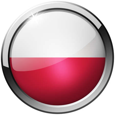 Poland Round Metal Glass Button photo