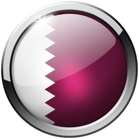 Qatar Round Metal Glass Button photo