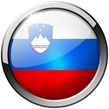 Slovenia Round Metal Glass Button photo