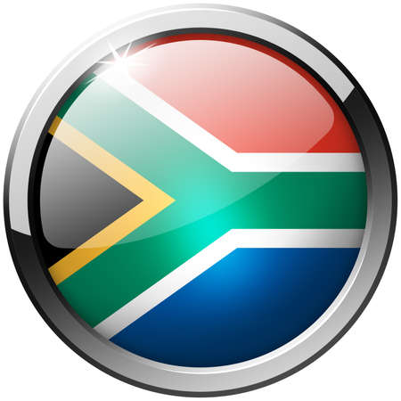 South Africa Round Metal Glass Button photo