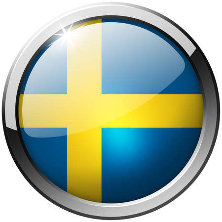 Sweden Round Metal Glass Button Stock Photo - 21200840