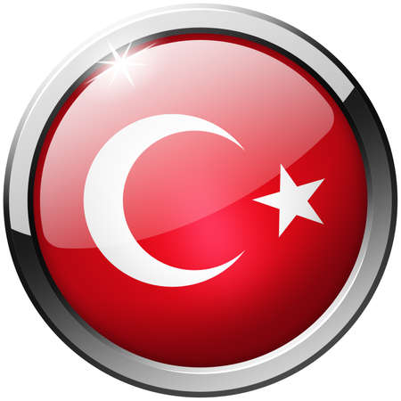 Turkey Round Metal Glass Button photo