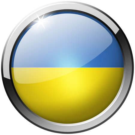 Ukraine Round Metal Glass Button photo
