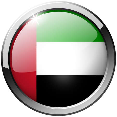 United Arab Emirates Round Metal Glass Button photo