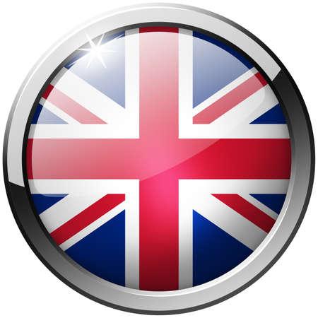 United Kingdom Round Metal Glass Button photo