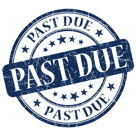 past due: Past Due Blue Stamp Stock Photo