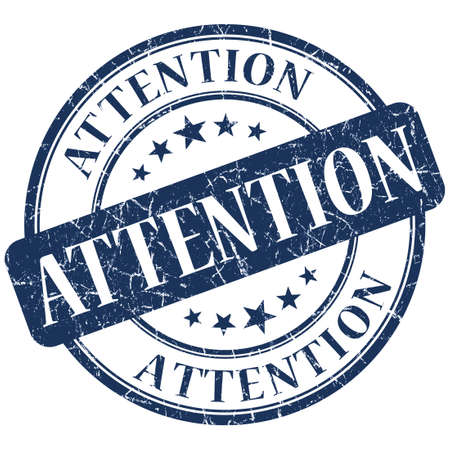 Attention blue stamp