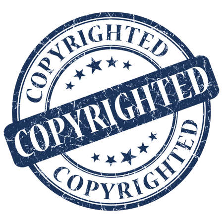 copyrighted: COPYRIGHTED Blue stamp Stock Photo