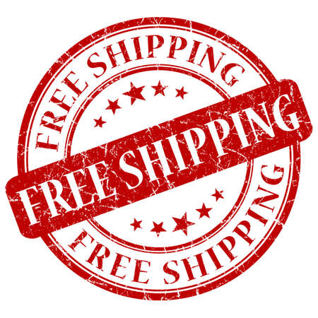 included: FREE SHIPPING red stamp Stock Photo