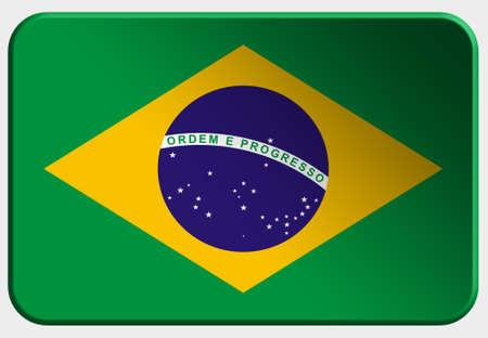 brasilia: Brasil 3D button on white background Stock Photo