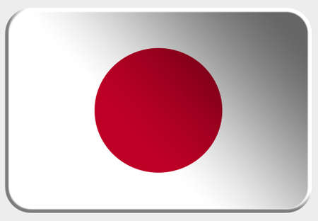 Japan 3D button on white background photo