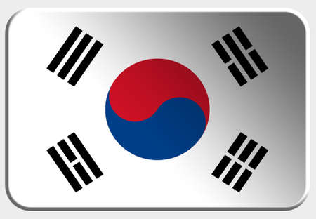 South Korea 3D button on white background photo