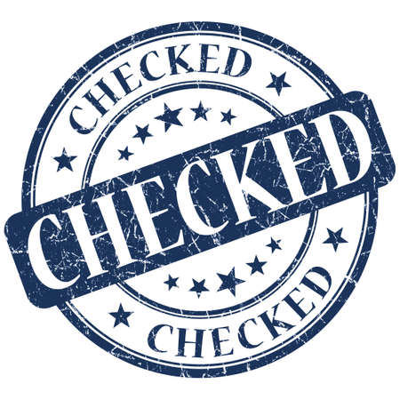 ratified: Checked Blue stamp Stock Photo