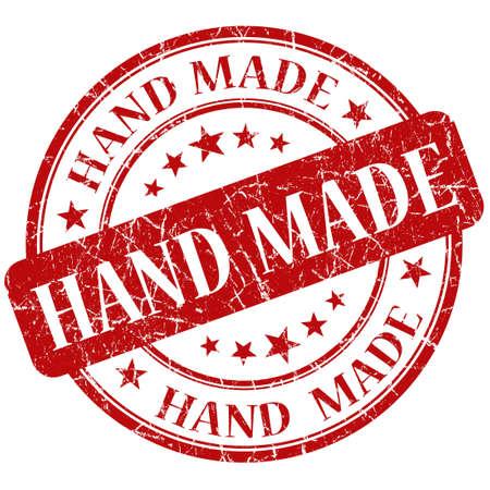 hand made: Hand Made Red stamp Stock Photo