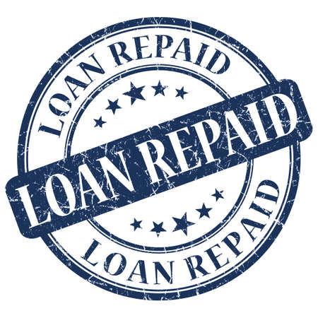 LOAN REPAID Blue stamp Stock Photo - 21555615