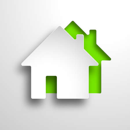 house illustration: real estate 3d vector green background