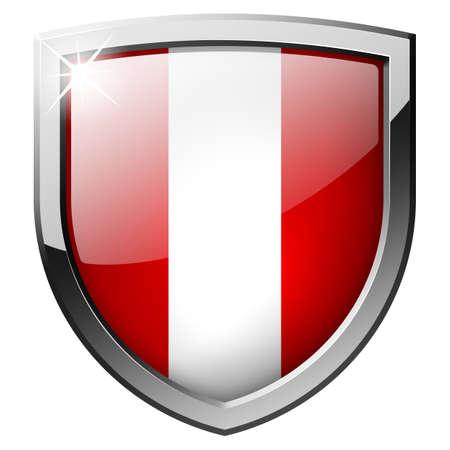 bandera peru: Per� escudo Foto de archivo