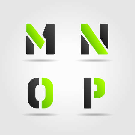 decorative letter: MNOP green