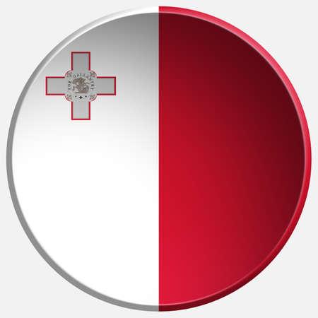 malta flag: malta 3d round button