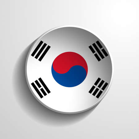 South Korea 3d Round Button photo