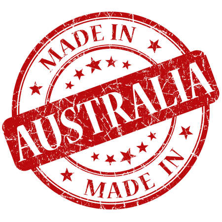 australia stamp: Made In Australia Red stamp Stock Photo