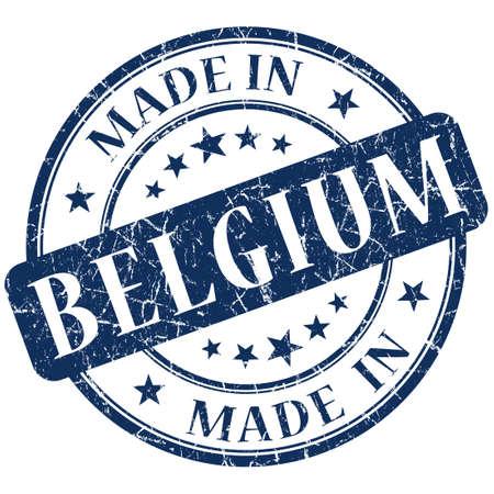 made in belgium: Made In Belgium blue stamp Stock Photo