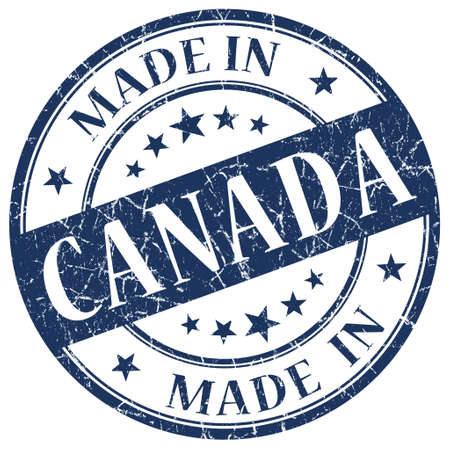 canada stamp: Made In Canada blue stamp Stock Photo