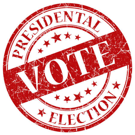 registration mark: Vote red stamp Stock Photo