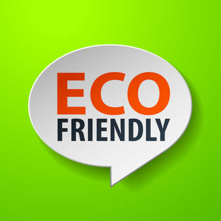 Eco Friendly 3d Speech Bubble on Green background Vector
