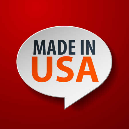Made In USA 3d Speech Bubble on red background Vector