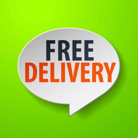 Free Delivery 3d Speech Bubble on Green background