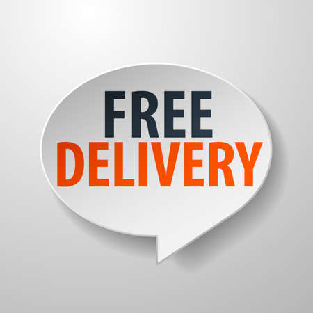 Free Delivery 3d Speech Bubble on White background Vector