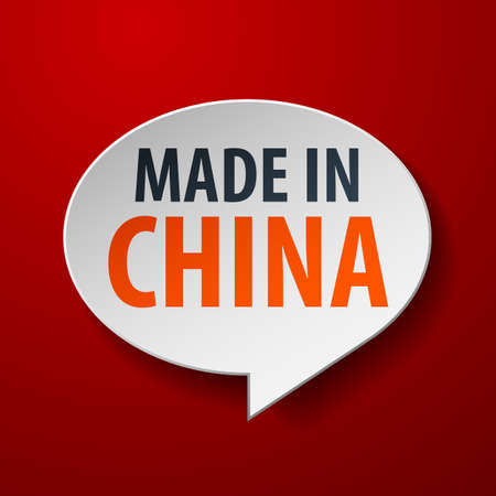 Made In China 3d Speech Bubble on Red background Vector