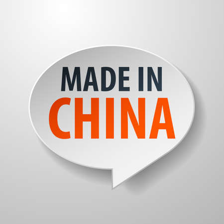 Made In China 3d Speech Bubble on White background Vector
