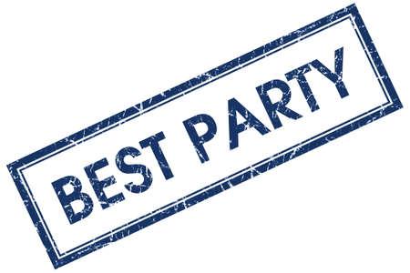best party: miglior partito quadrato blu francobollo