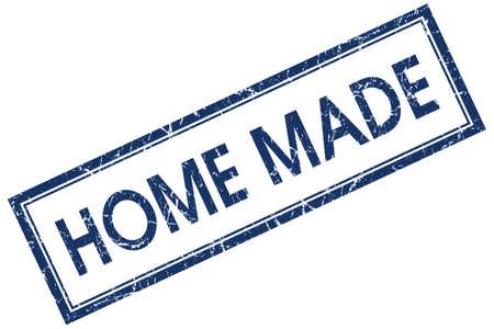 home made: home made blue square stamp