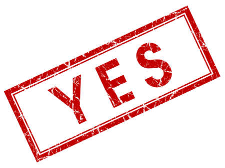 yes red square stamp Stock Photo