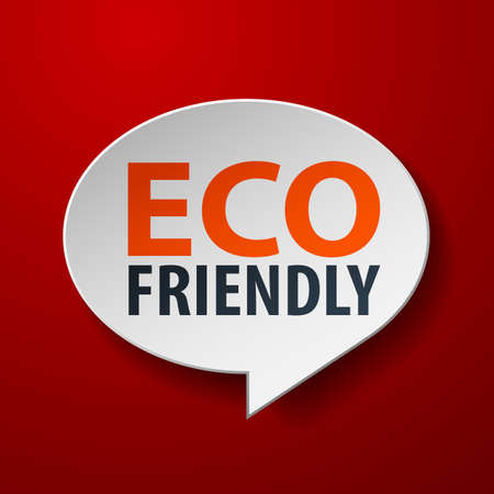 Eco Friendly 3d Speech Bubble on Red background Vector