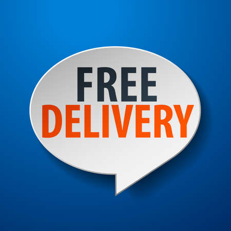 gratis: Free Delivery 3d Speech Bubble on Blue background Illustration