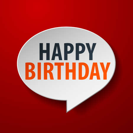 3d text: Happy Birthday 3d Speech Bubble on red background Illustration