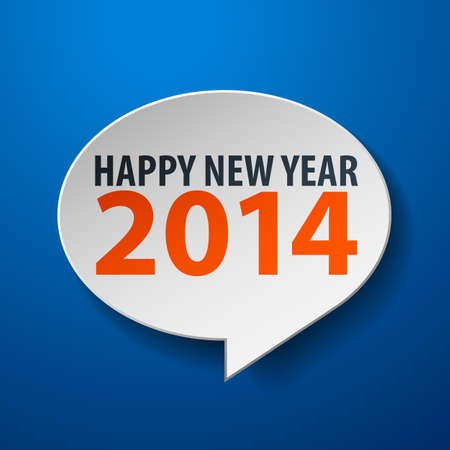 Happy New Year 2014 3d Speech Bubble on Blue background Stock Vector - 21792650